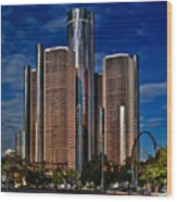 Gm And Marriot Monster In Detroit Wood Print