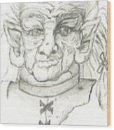 Gnarlsworth Gnome - Black And White Wood Print