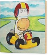 Go Cart Cow Wood Print