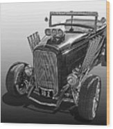 Go Hot Rod In Black And White Wood Print