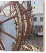 Steering Wheel Of Big Sailing Ship Wood Print