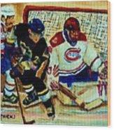 Goalie  And Hockey Art Wood Print
