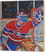 Goalie Makes The Save Stanley Cup Playoffs Wood Print