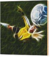 Goalkeeper In Action Wood Print by Pamela Johnson