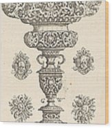 Goblet, Rim Decorated With Masque And Bouquet Of Fruit Wood Print