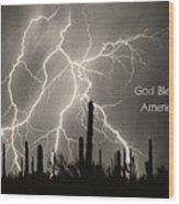 God Bless America Bw Lightning Storm In The Usa Desert Wood Print by James BO  Insogna