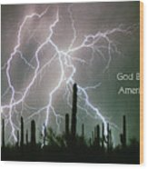 God Bless America Color Lightning Storm In The Usa Desert Wood Print
