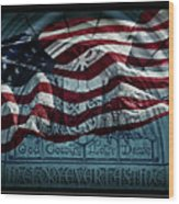 God Country Notre Dame American Flag Wood Print