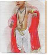 God Krishna Style Watercolor Wood Print