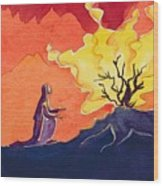 God Speaks To Moses From The Burning Bush Wood Print