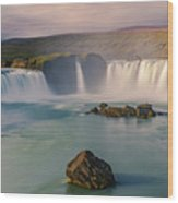 Godafoss In Iceland Wood Print