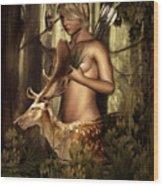 Goddess Artemis Wood Print by Lourry Legarde