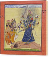 Goddess Bhadrakali Worshipped By The Gods. From A Tantric Devi Series Wood Print