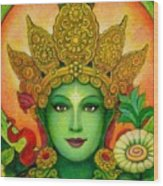 Goddess Green Tara's Face Wood Print