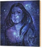 Goddess In Blue Wood Print
