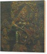 Goddess Kali Killing Demon Wood Print