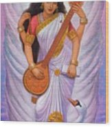 Goddess Saraswati Wood Print by Sue Halstenberg