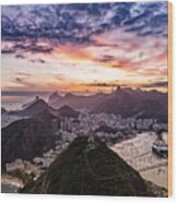 Going Up The Cable Car In Rio De Janeiro Wood Print