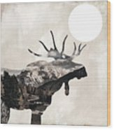 Going Wild Moose Wood Print
