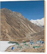 Gokyo Village And The Frozen Lake Wood Print