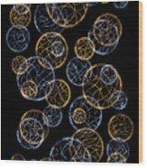 Gold And Blue Abstract Circles Wood Print
