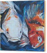 Gold And Koi Fish 1 Wood Print