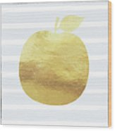 Gold Apple- Art By Linda Woods Wood Print