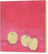Gold Apples On Red Wood Print