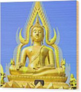 Gold Buddha Statue Wood Print by Somchai Suppalertporn