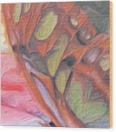 Gold Butterfly Paintng Abstract Wood Print by Don  Wright