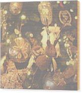Gold Christmas Tree Decorations Wood Print