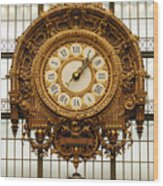 Gold Clock Paris France Wood Print