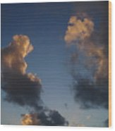 Gold Clouds  Wood Print