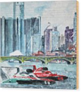 Gold Cup Race On Detroit River Wood Print