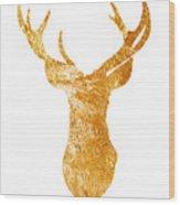 Gold Deer Silhouette Watercolor Art Print Wood Print