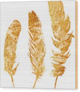 Gold Feathers Watercolor Painting Wood Print