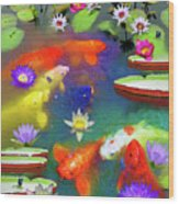 Gold Fish And Water Lily Pads Wood Print