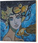 Gold Fish Wood Print
