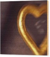 Gold Heart Mirror Wood Print