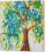 Gold Heart Valentine Tree Watercolor N Ink Wood Print