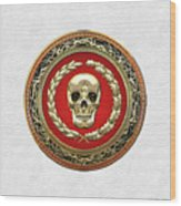 Gold Human Skull Over White Leather  Wood Print