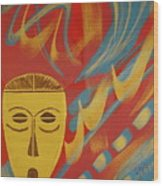 Gold Mask on Red Wood Print