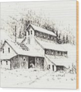 Gold Mine Cable Ghost Town Montana Wood Print