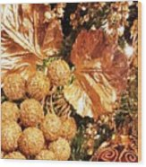 Gold Ornaments Holiday Card Wood Print