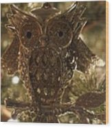 Gold Owl Wood Print