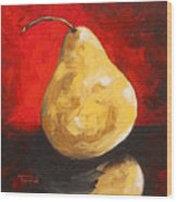 Gold Pear On Red  Wood Print