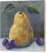 Gold Pear With Grapes II  Wood Print