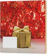 Gold Present With Place Card  Wood Print