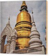 Gold Stupa Wood Print