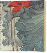 Gold Thread Lotus Wood Print